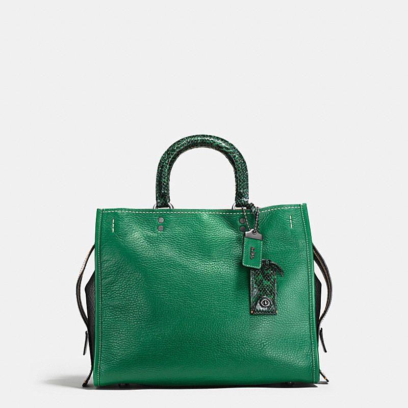 2c2baffe82  Coach Black Copper Cypress Color block Snake Pebble Leather Rogue Bag   Bonanza  Doris Daily Deals