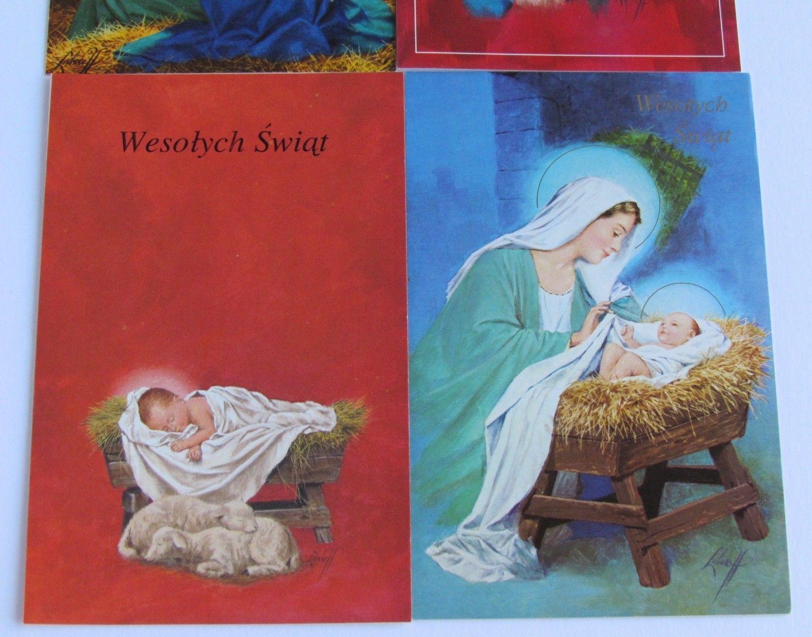 Christmas Polish Greeting Cards & Oplatek Set Of Ten (10
