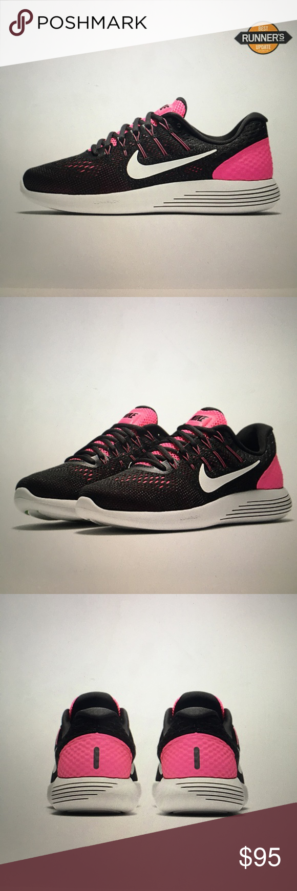 Nike Lunarglide 8 Brand new still in box. Women's sizing. Black and hot pink Nike Shoes