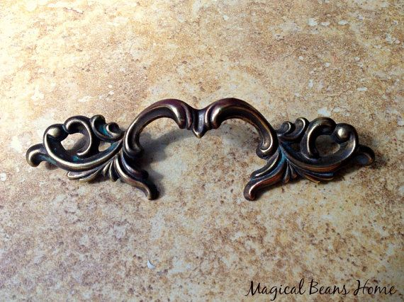 French Provincial 5 Dark Br Pull Authentic Vintage Waterfall Restoration Hardware Salvaged Decorative Furniture Handle Drawer Pulls