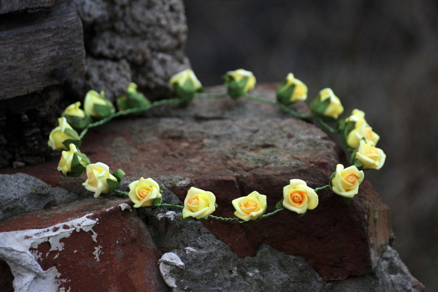 Secret garden fabulous romantic sunny yellow fairy rose crown headband, head piece. $42.00, via Etsy.