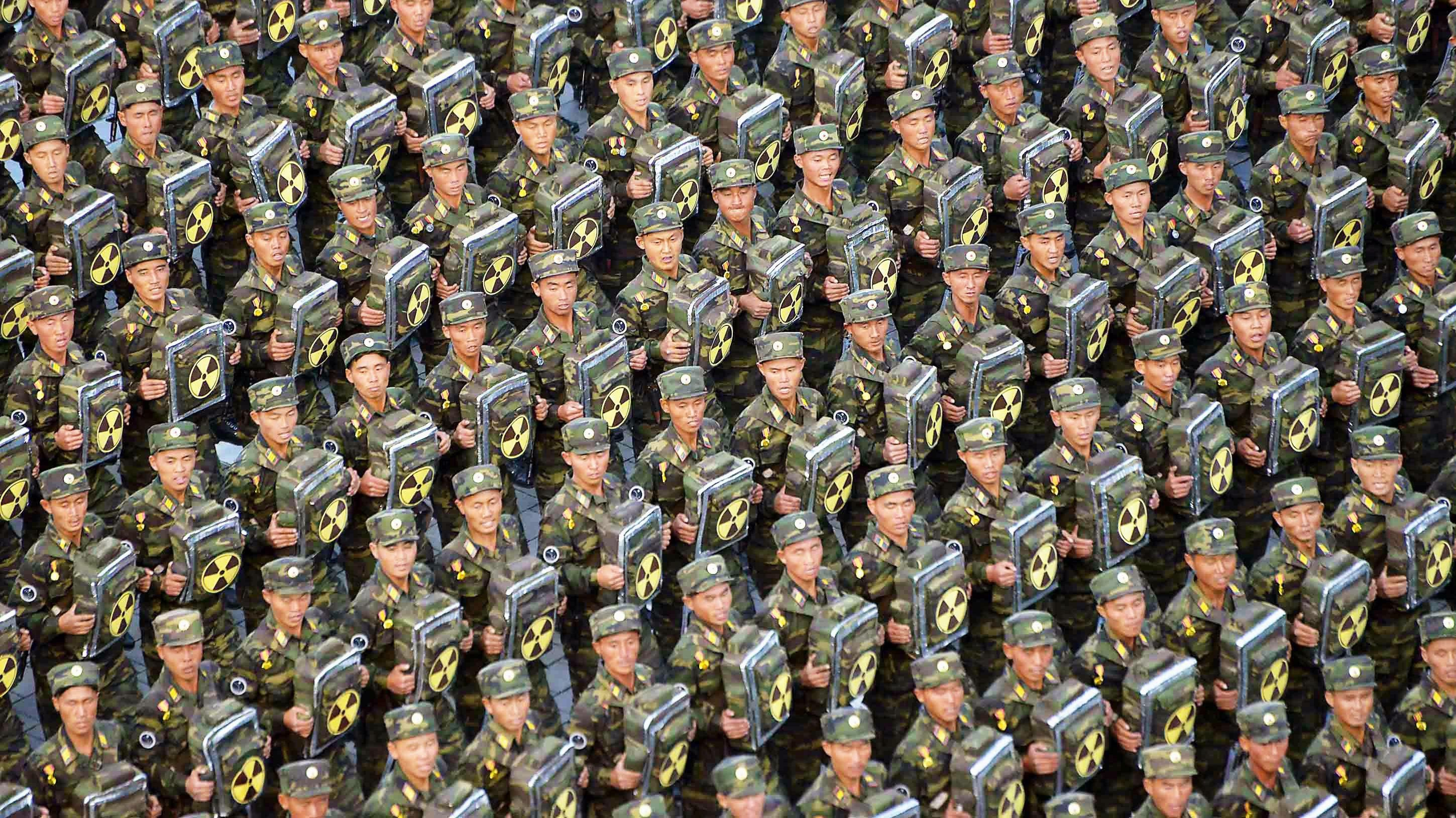North korean army presenting backpacks with nuclear radiation north korean army presenting backpacks with nuclear radiation symbol 2899x1629 biocorpaavc Images