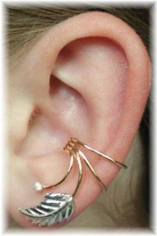 leaf with cz ear wrap this looks really cool earrings pinterest