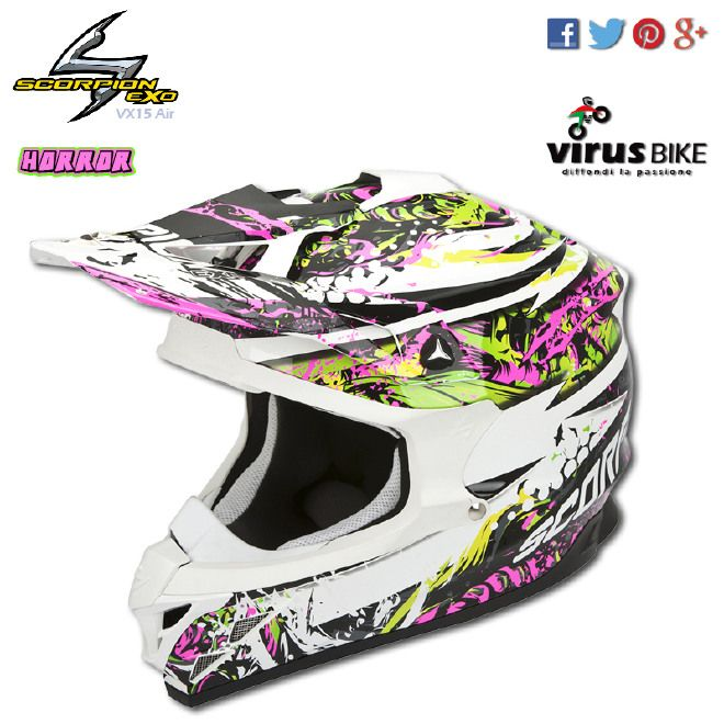 Casco Cross Supermotard Scorpion Vx 15 Evo Air Horror Verde