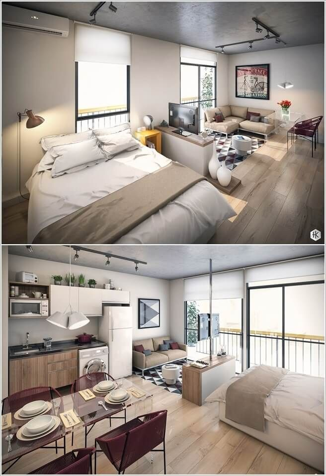 Clever Ways To Design A Living Room And Bedroom Combo Living Room And Bedroom Combo Bed In Living Room Tiny Living Rooms