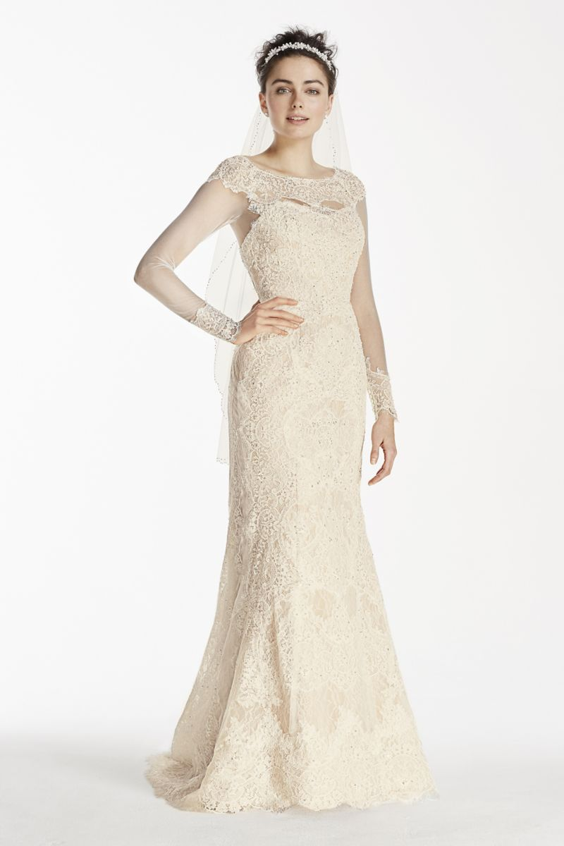 Petite long sleeve lace sheath wedding dress style cwg bridal