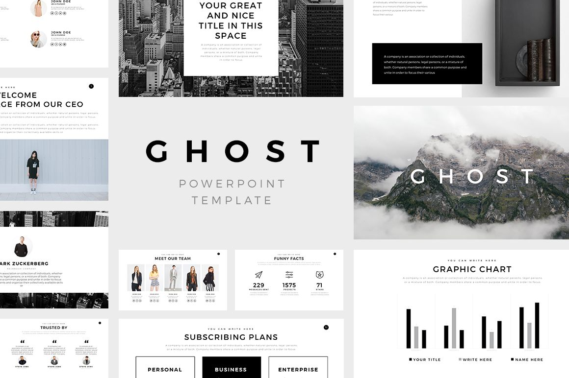 present your works professional and clean with ghost minimal powerpoint template with a clean simple and contemporary design cool photo layouts and