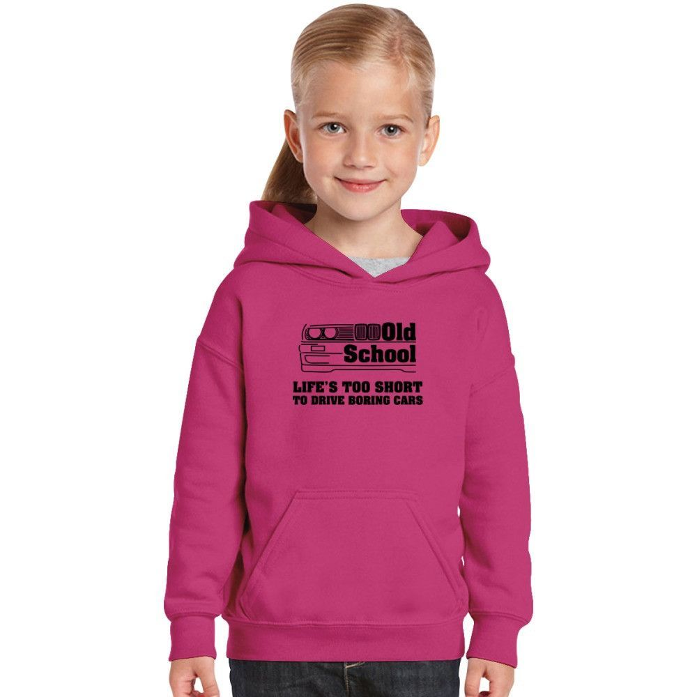 Old School Live Is To Short To Drive Boring Cars Kids Hoodie