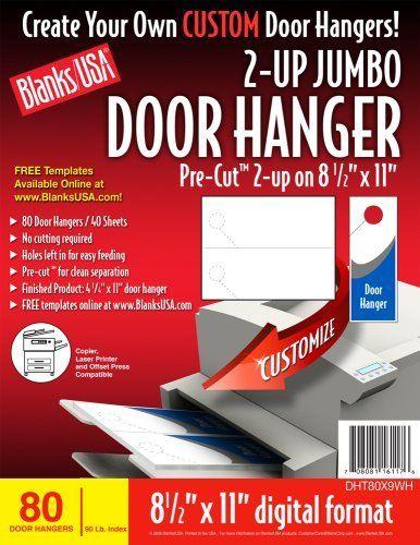 BLANKS/USA Pre-Cut Jumbo Door Hanger, 40 Sheets, 80 Door Hangers