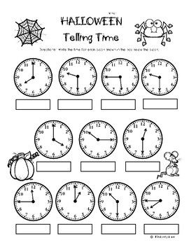 Halloween Telling Time (to the quarter hour) Practice