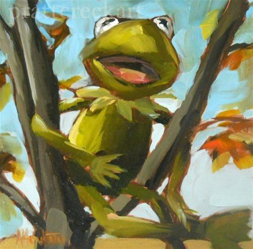 """""""kermit in tree"""" - Original Fine Art for Sale - © Angela Moulton"""