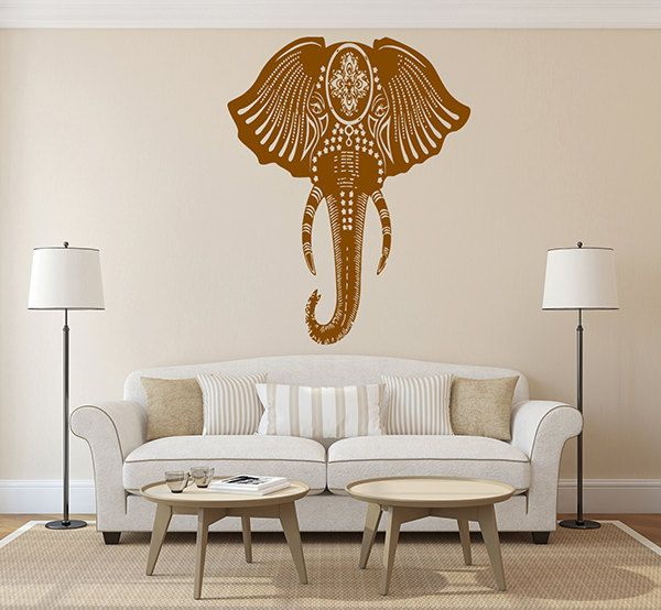 Kik268 Wall Decal Sticker Room Decor Wall Indian Elephant Floral Ornament Animal India Living Room Bedroom Simple Wall Decor Indian Decor Wall Decor Elephant decor for living room