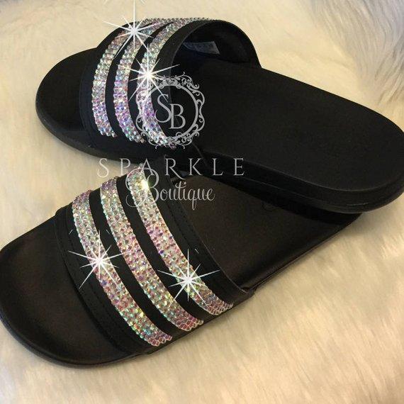 8bfee0679 Swarovski adida Slides, Bling Slides, Bedazzled, Adilette Cloudfoam Ultra,  Custom, adidas Bling, All