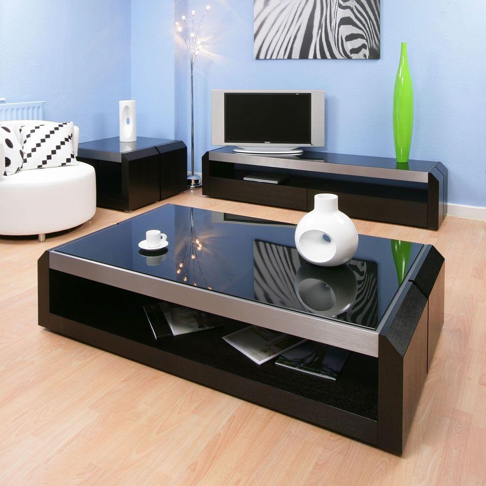 Large Black Oak Glass Coffee Lamp Side Table Modern Designer
