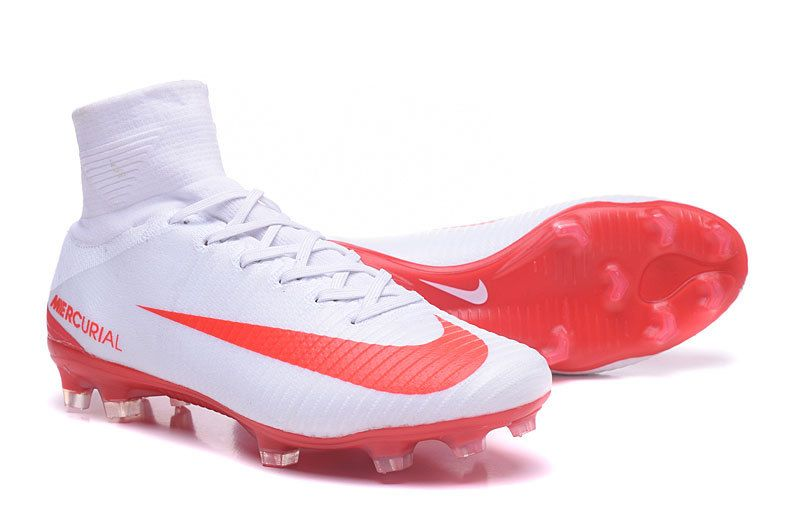 New Football Boots Nike Mercurial Superfly V Fg White Red