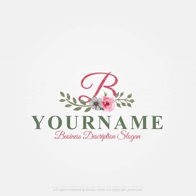 Online Free Logo Maker Vintage Flowers Design