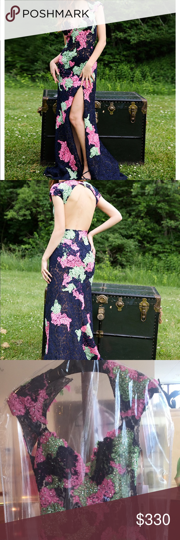 Prom dress Beautiful navy pink and green gown with open back. I bought it but it's too tight on me Jovani Dresses Prom