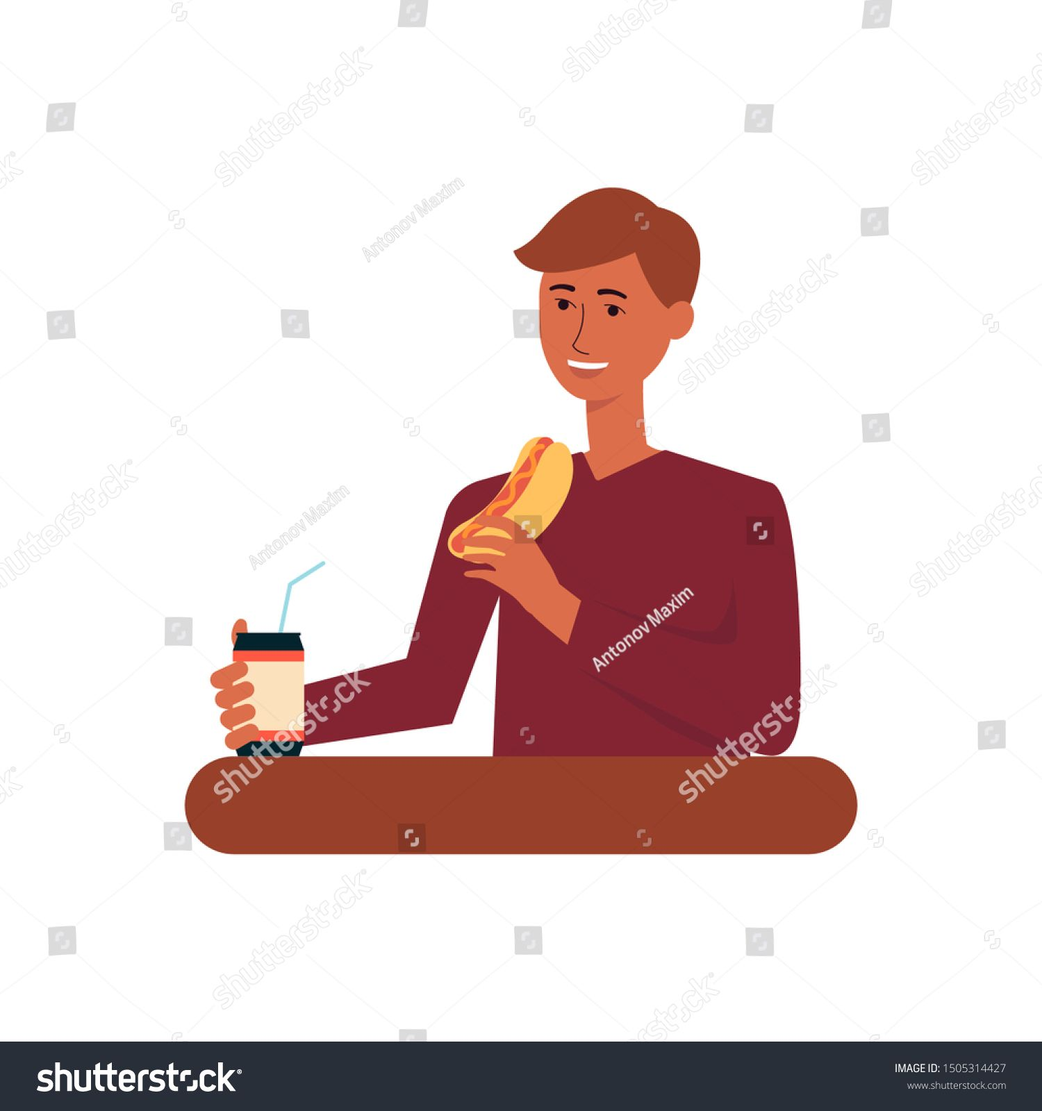 Young man eating fast food meal, adult male cartoon character drinking soda and eating hot dog, happy person having lunch - isolated flat vector illustration on white background #Sponsored , #sponsored, #male#adult#cartoon#drinking