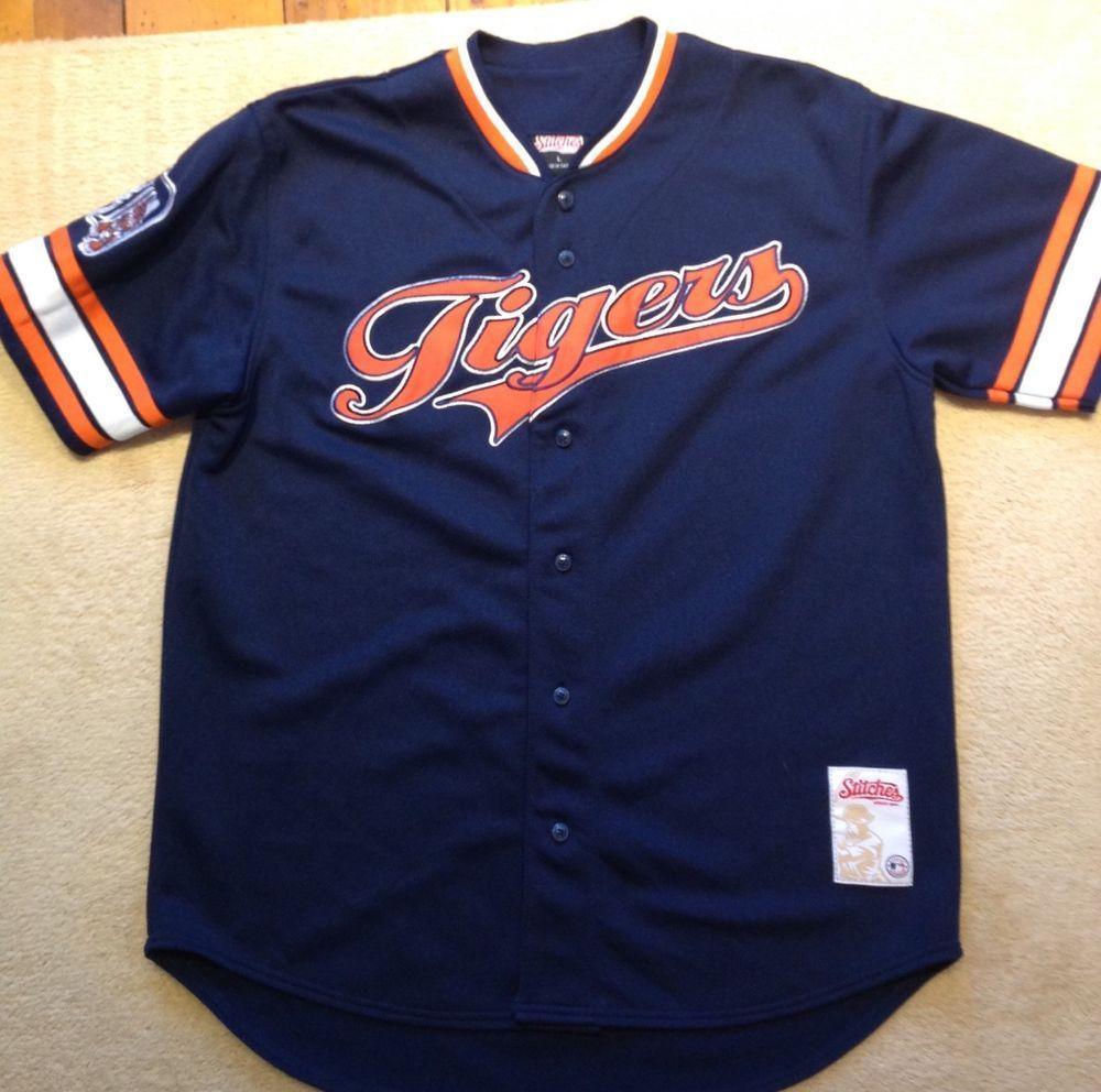 b7a8c181d canada mlb detroit tigers blue stitches baseball button jersey mens l 20.00  end date friday dec