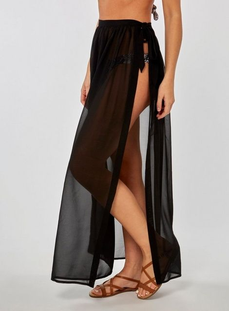 3f443416f DP Beach Black Chiffon Tie Side Skirt in 2019 | Products | Beach ...