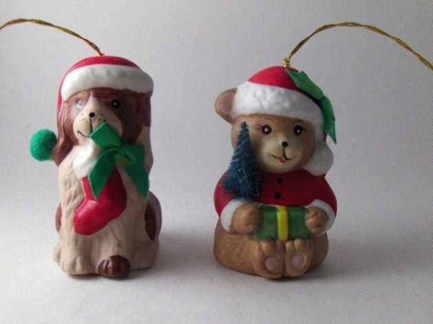 Vintage Bell Collectible Bisque Porcelain Christmas Bell Ornaments