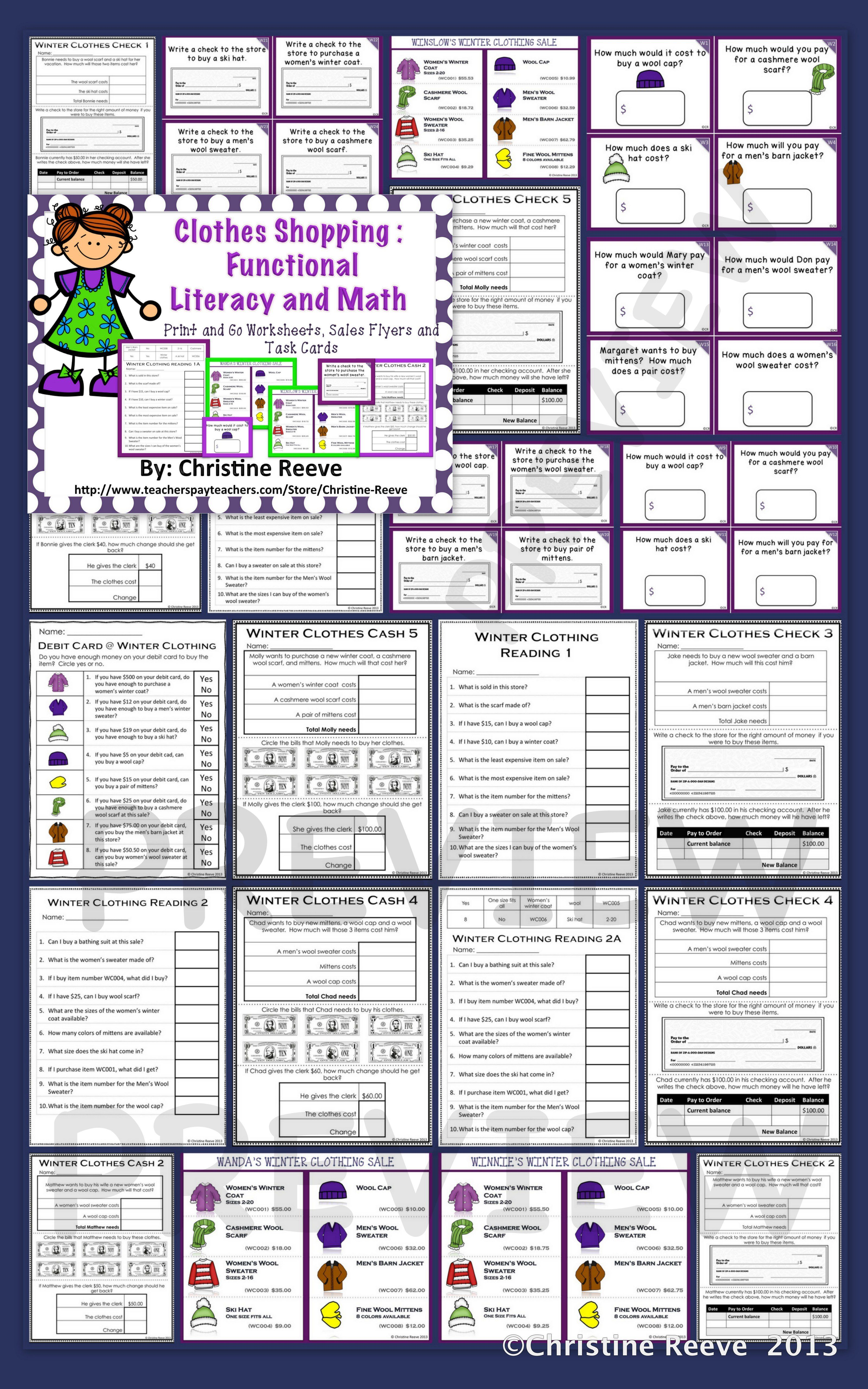 Winter Clothes Shopping Functional Literacy And Math