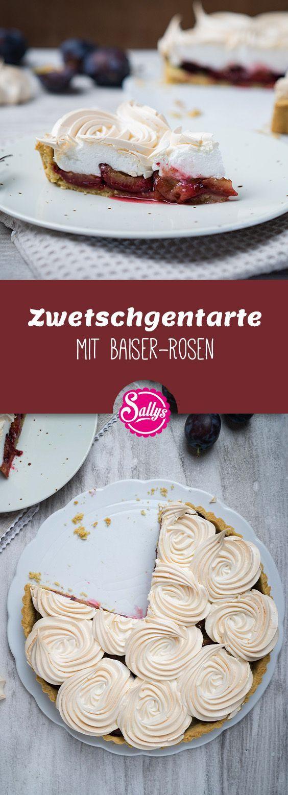 Zwetschgentarte mit Baiser-Rosen