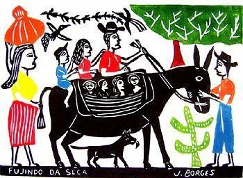 Arte Popular Do Brasil J Borges Fugindo Da Seca Xilogravura