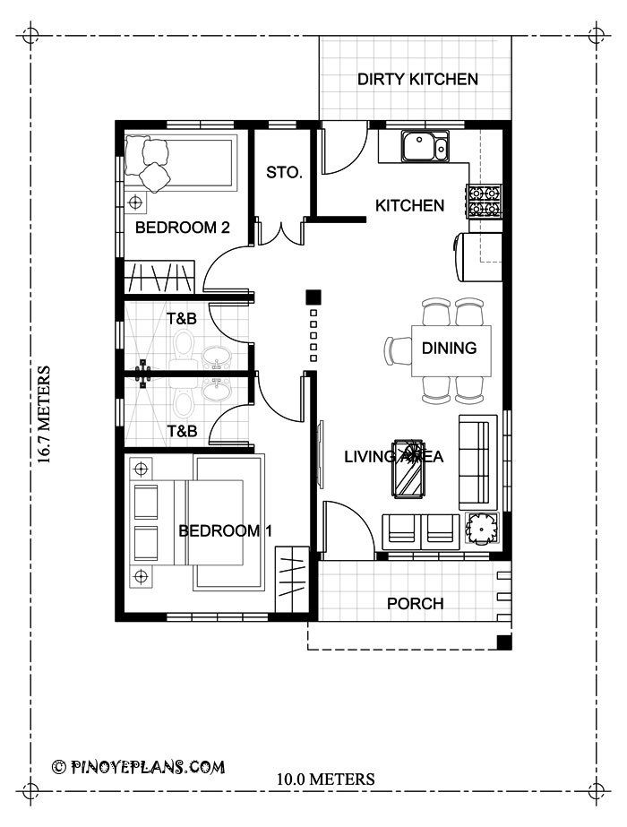 This Two Bedroom Small House Design Has A Total Floor Area Of 61 Square Meters That Can B Small House Design Plans House Floor Plans Bungalow House Floor Plans