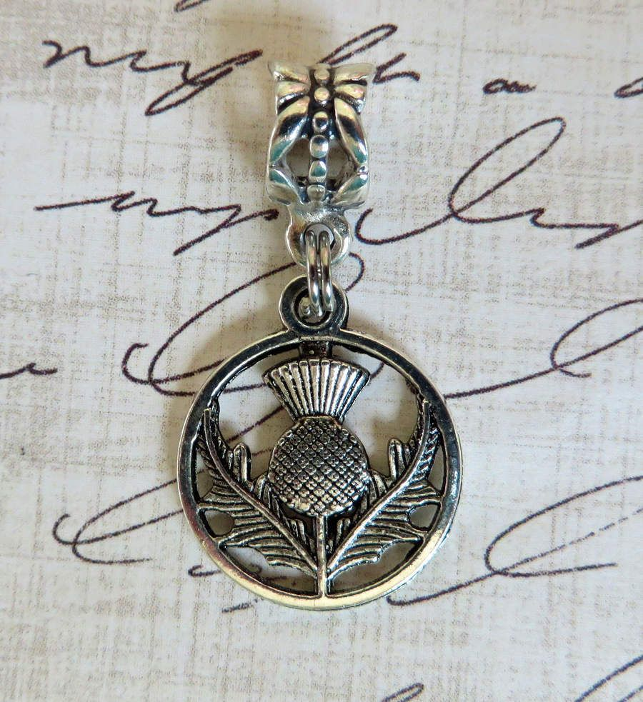 Scottish Thistle Sterling Silver Dangle Charm Carrier Bead Scotland