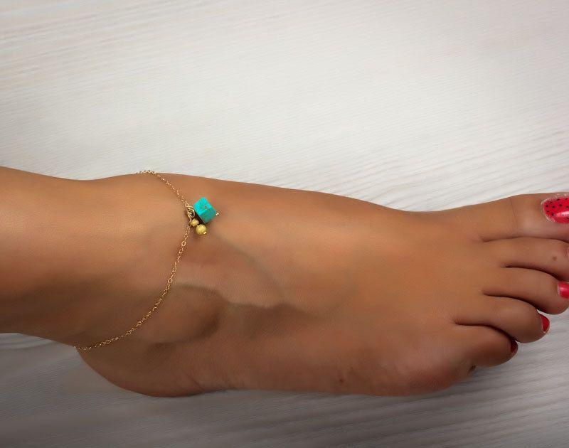 "Turquoise anklet, ankle bracelet, gold anklet, foot jewelry, gold ankle bracelet, charm anklet, delicate anklet, bridesmaid gift,""Okeanides"""