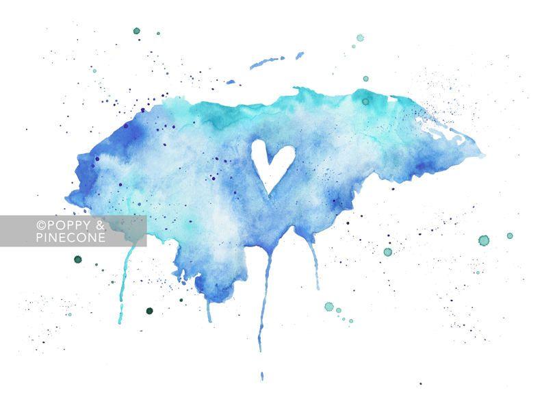 5x7 or 8.5x11 Honduras Love / Watercolor Map Print / Wedding