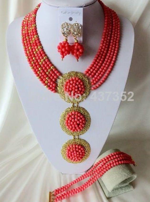 Fashion Nigerian Beads Necklaces Bracelet Earrings Wedding African ...