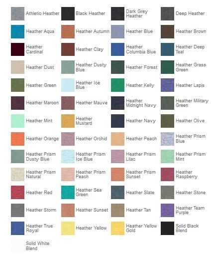 Bella Canvas 3001CVC Color Chart from NYFifth