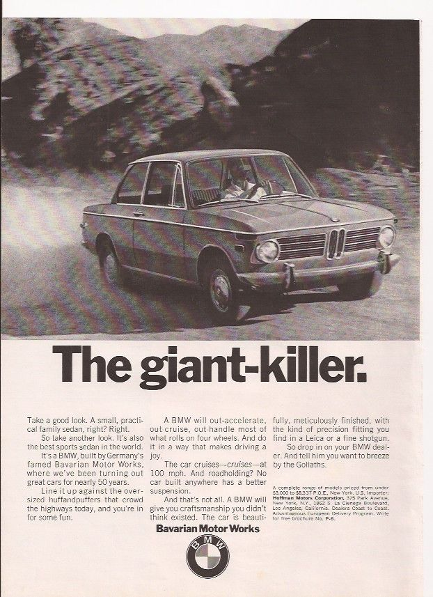 1970 BMW the giant killer car  Or Bellows instant bar blended Scotch Whiskey Original vintage magazine Ad
