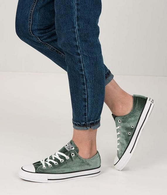 bc6712b628f46 Emerald Green Converse W US 8 Crush Velvet Forest Low Top w ...