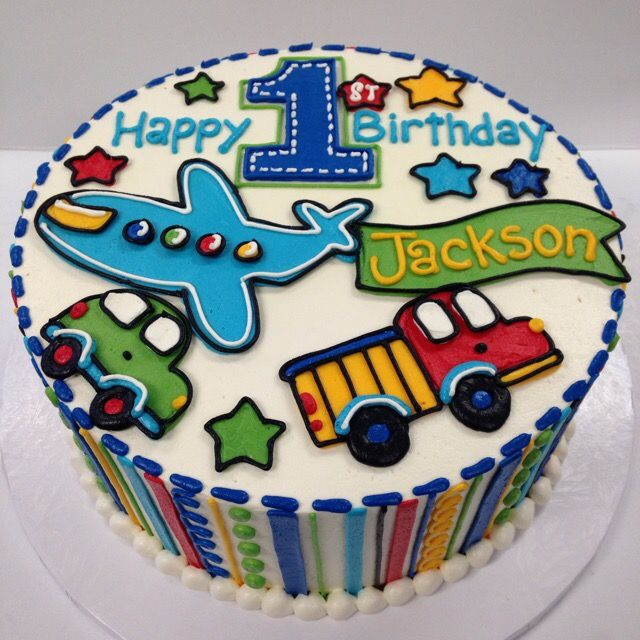Adorable 1st Birthday Vehicle Cake With Images Buttercream
