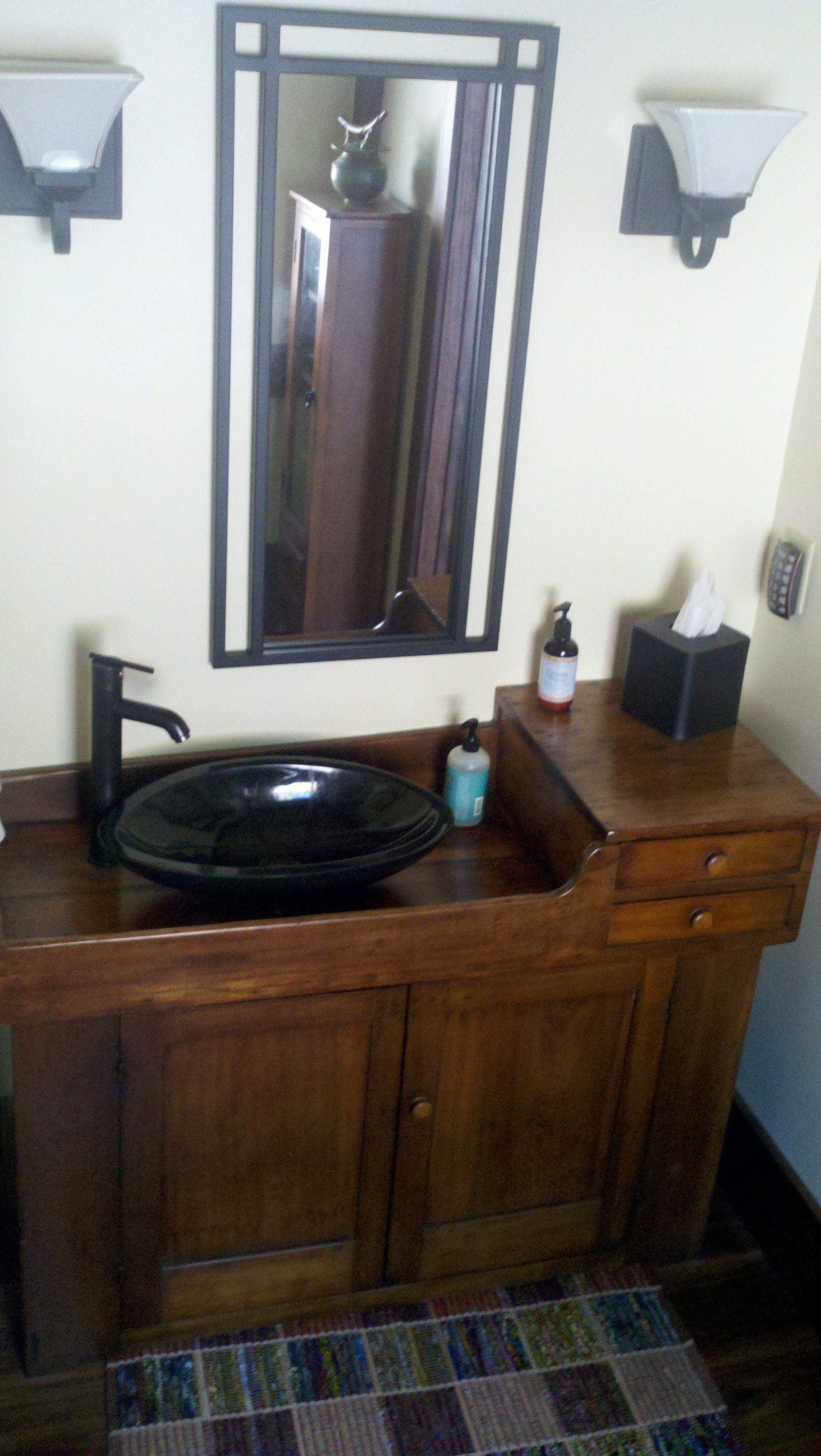 Antique Dry Sink From A Great Aunt Became A Wet Sink In This Powder Bath Granite Wash Bowl And Fixtures From An Overs Antique Dry Sink Dry Sink Sinks For Sale