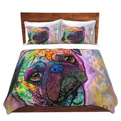 DiaNocheDesigns Pug Love Dog Duvet Set Size: King http://www.poochportal.com/