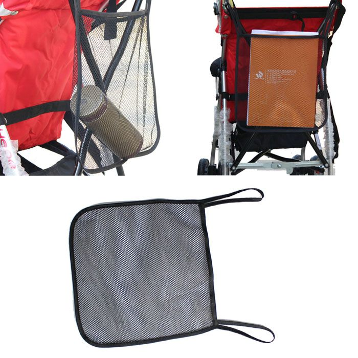 Baby Stroller Pram Mesh Carry Hanging Net Bag Organiser Black