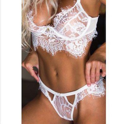 da110ca9034bb HOT Women Sexy Lingerie Sleepwear Lace Bra G-string Underwear Babydoll  Nightwear