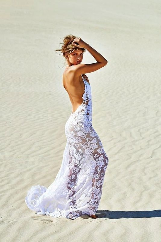 Sheath Applique Lace Halter Backless Mermaid Beach Wedding Bridal Gown Dresses