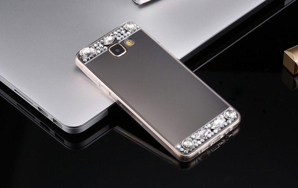 For Samsung Galaxy J3 J5 J7 S7 Edge S6 A3 A5 A7 Grand Prime Mirror Case  Cover Soft TPU Bling Rhinestone Diamond Phone Cases 9baf3ce7894d