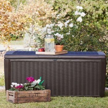 outdoor cushion and grill cover storage box costco keter sumatra 135 gallon deck box