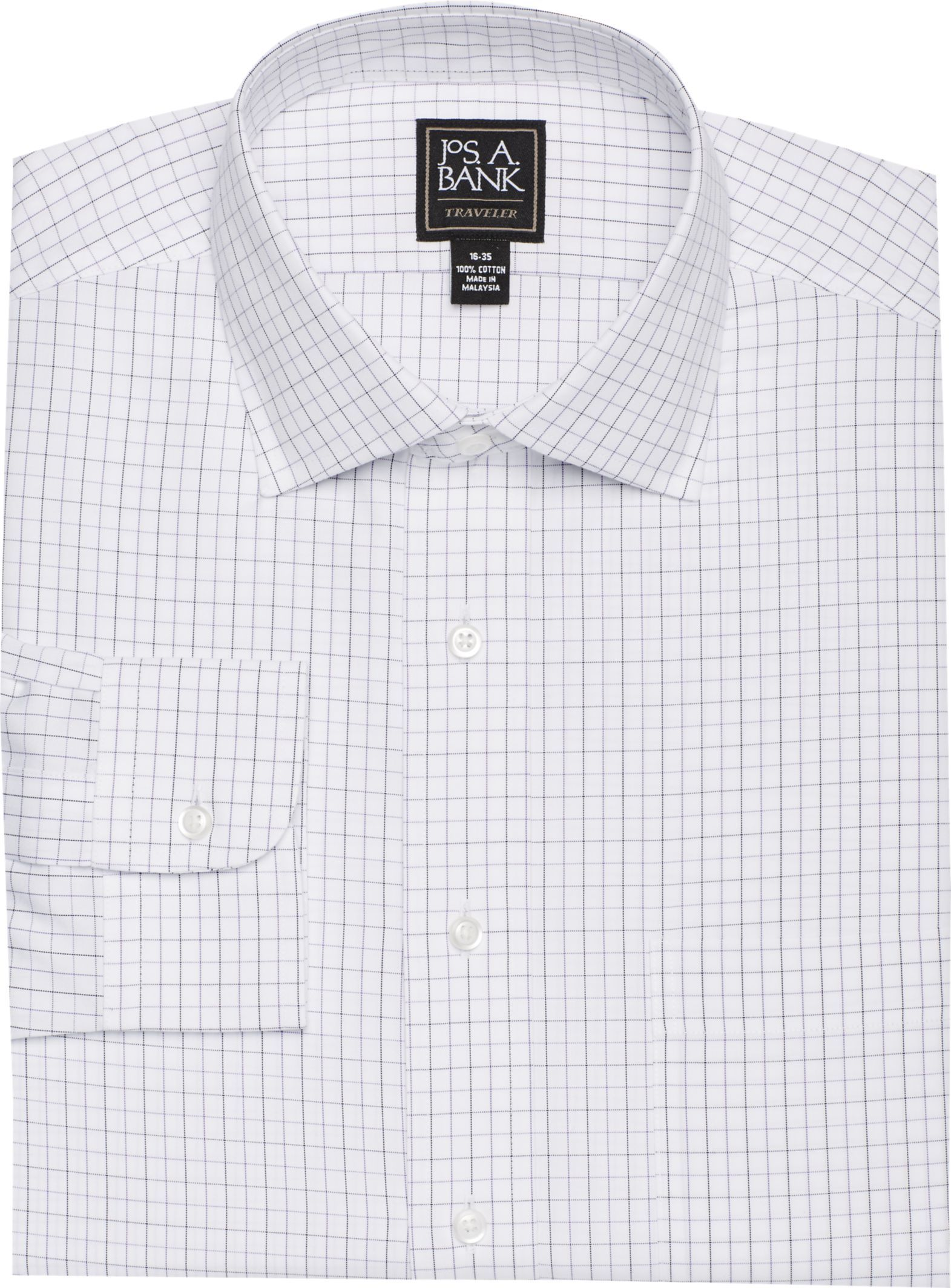Traveler Collection Traditional Fit Spread Collar Grid Dress Shirt