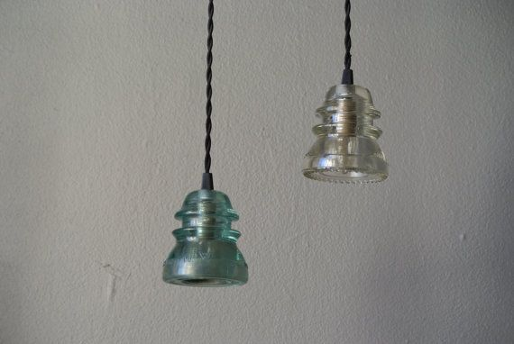 Insulator Pendant Light Aqua or Clear Glass by pepeandcarols