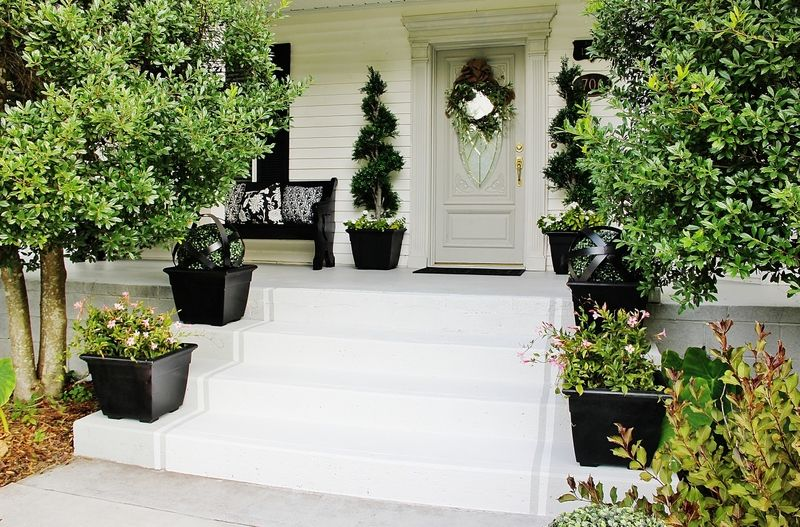 Painted Striped Front Porch Steps Thistlewood Farmshome