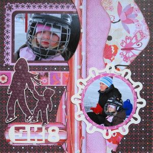 Scrapbook Page - RHP of a 2 page winter layout with mother and child skating - from Christmas Album 4