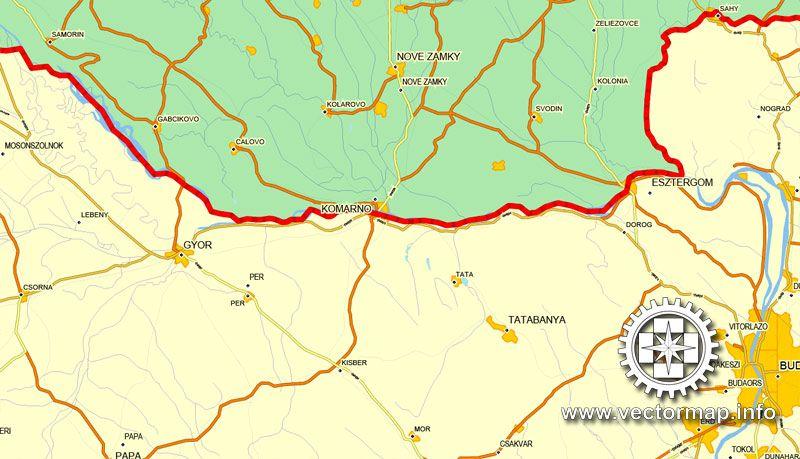esztergom térkép utcanevekkel Magyarország, nyomtatható vektor Ország térkép, teljes  esztergom térkép utcanevekkel