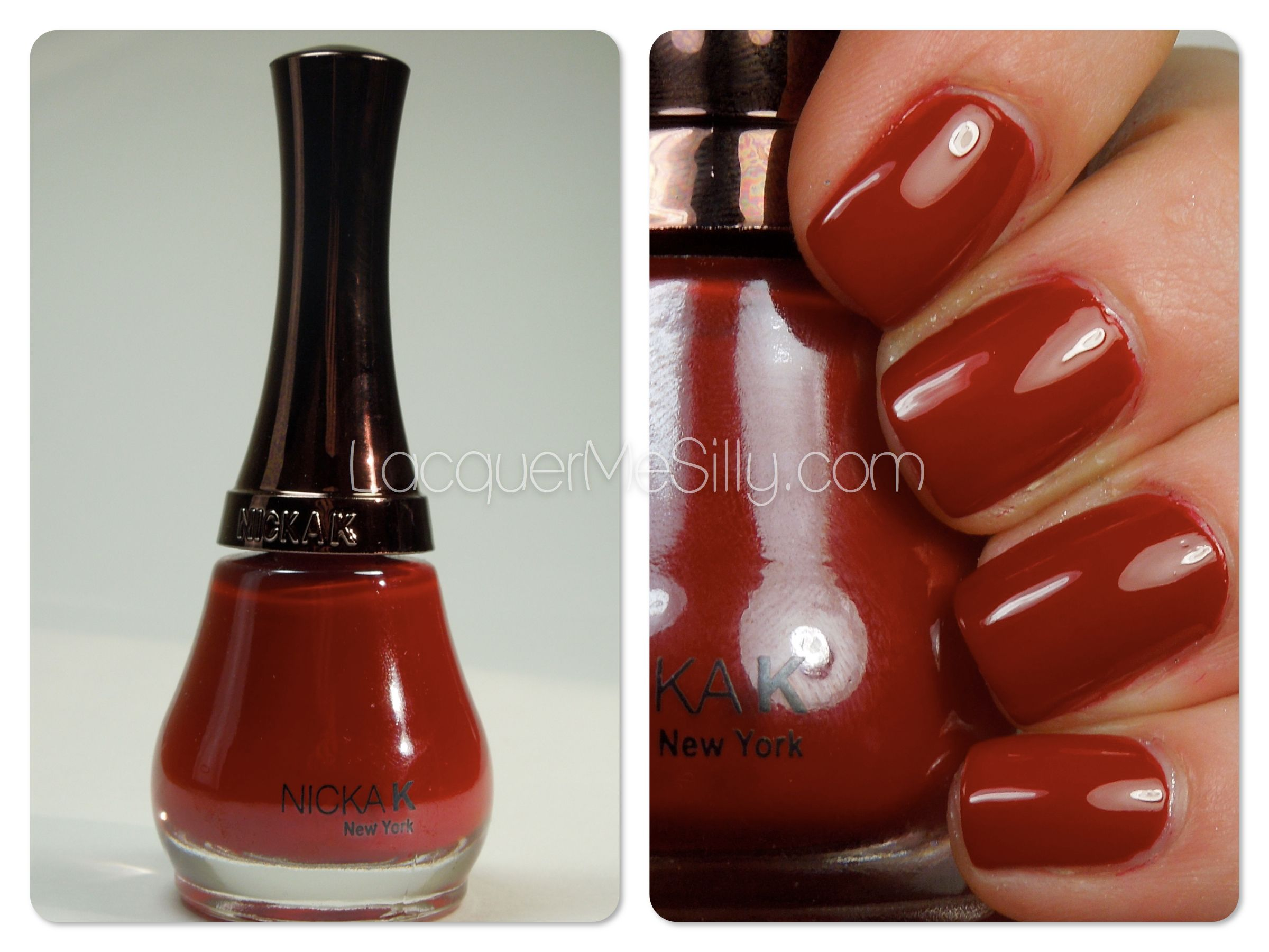 Nicka K New York nail polish in the color Ripe Apple, a deep red ...
